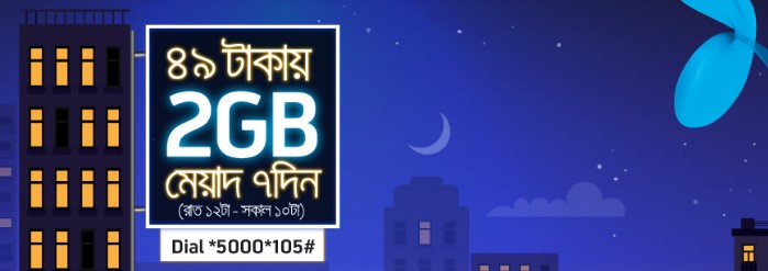 GP 2GB Night Pack Internet 49 TK