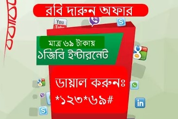 Robi 1GB Internet 69 TK offer