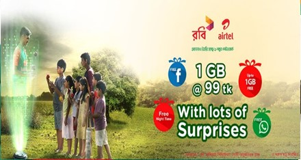 Airtel & Robi 1GB 99 TK Chomok Internet Offer