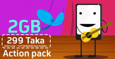 GP Action Pack 2GB Internet 299 TK Offer 2017