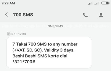 Airtel BD 700 SMS 7 TK Offer