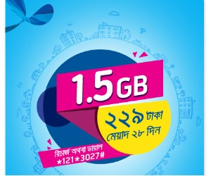 GP 1.5GB 229 TK Internet Offer 2017 with 28Days Validity