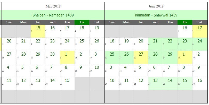 Islamic Hijri Calendar For Ramadan - 1439 Hijri (Western Year 2018)