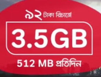 Robi 3.5GB 92 TK Internet Offer