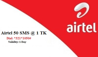 Airtel 50 SMS 1 TK Offer