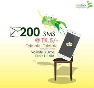 Teletalk 200 SMS 5 TK Offer