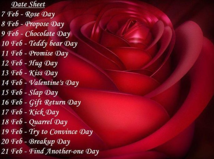 Happy Valentine's Week List, Date Sheet, Timetable, Schedule
