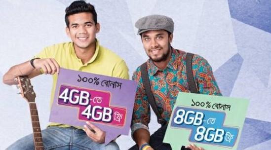 Grameenphone 3G 100% Internet-Data bonus on 4GB, 8GB pack