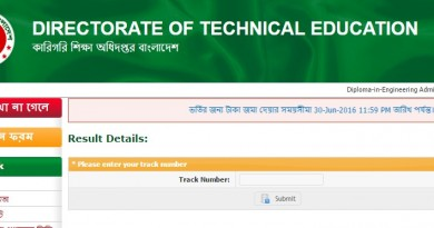 Polytechnic Diploma Admission Result 2016-17