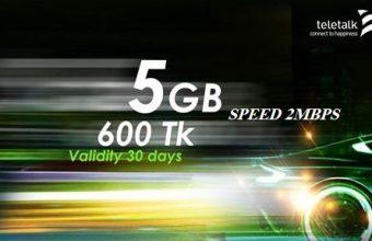 Teletalk 5GB Internet 600 TK Offer