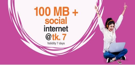 Banglalink 100 MB Social Internet 7 TK Offer