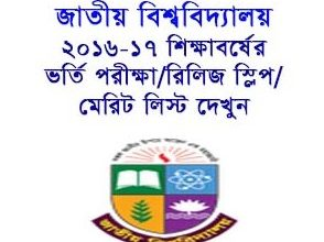 National University (NU) Honors Admission Release Slip Result 2016-17 Check Online www.nu.edu.bd.