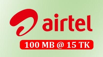 Airtel 100 MB Internet 15 TK Offer