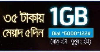 GP 1GB Night Pack internet 35 TK 2017 Offer