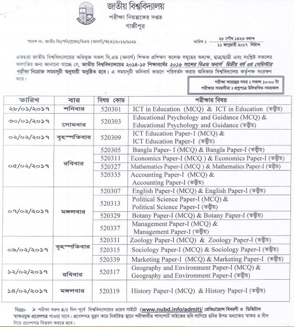 National University- NU B. ED Honours Exam Routine 2016 2nd Year 3rd Semester 2014-15 Session
