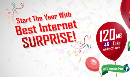Robi 1 Month Free Facebook with 120 MB Regular Internet 46 TK Recharge Offer