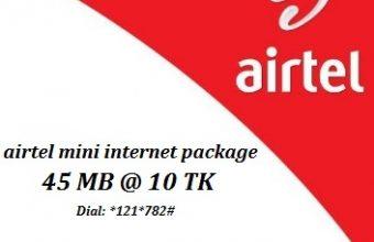 Airtel 45 MB Internet 10 TK Offer