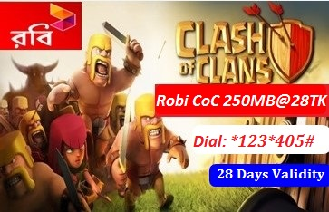 Robi Clash of Clans 250 MB Internet Pack 28 TK Offer with Validity 28 Days