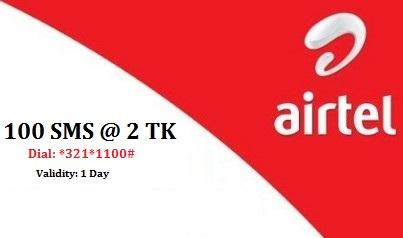 Airtel 100 SMS Bundle 2 TK Offer