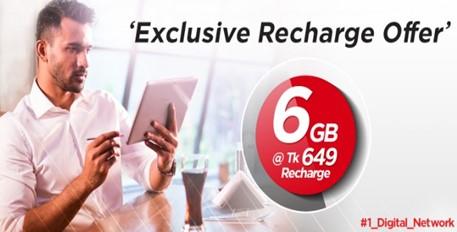 Robi 6GB Internet 649 TK Recharge Offer