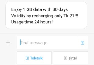 Teletalk 1GB 21 TK Recharge Offer with 30 Days Validity