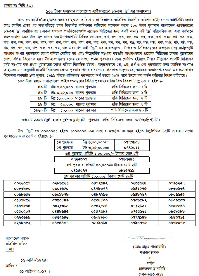 89th Bangladesh Bank Prize Bond Lottery Draw Result 2017 of 100 TK - www.bb.org.bd