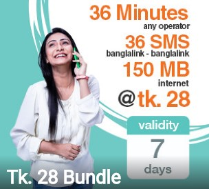 Banglalink 28 TK Bundle Offer – 150 MB + 36 Minutes + 36 SMS
