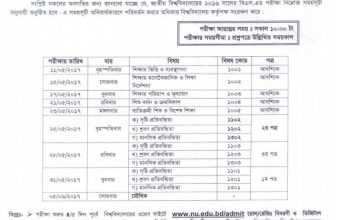 NU BSED Exam Routine 2016 (Published 2nd May, 2017)