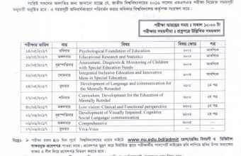 NU MSED Exam Routine 2016 (Published 2nd May, 2017)