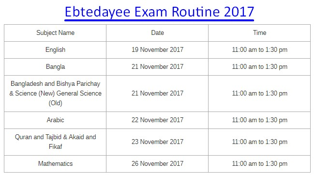 Ebtedayee Exam Routine 2017 PDF File & HD Picture Download