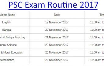 PSC Exam Routine 2017 – www.dpe.gov.bd
