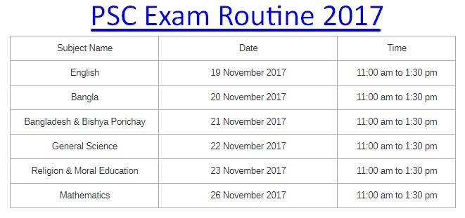 PSC Exam Routine 2017 PDF File & HD Picture Download