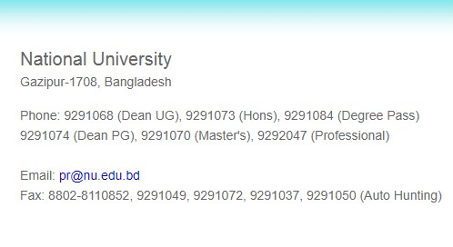 National University Helpline Number