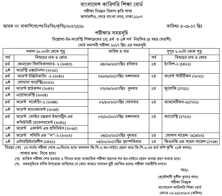 Diploma In Forestry Exam Routine 2017