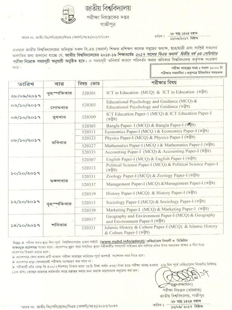 NU B.ED Honours 2nd Year Exam Routine 2017