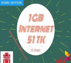 Robi 1GB 51 TK Internet Offer (15 Days Validity)