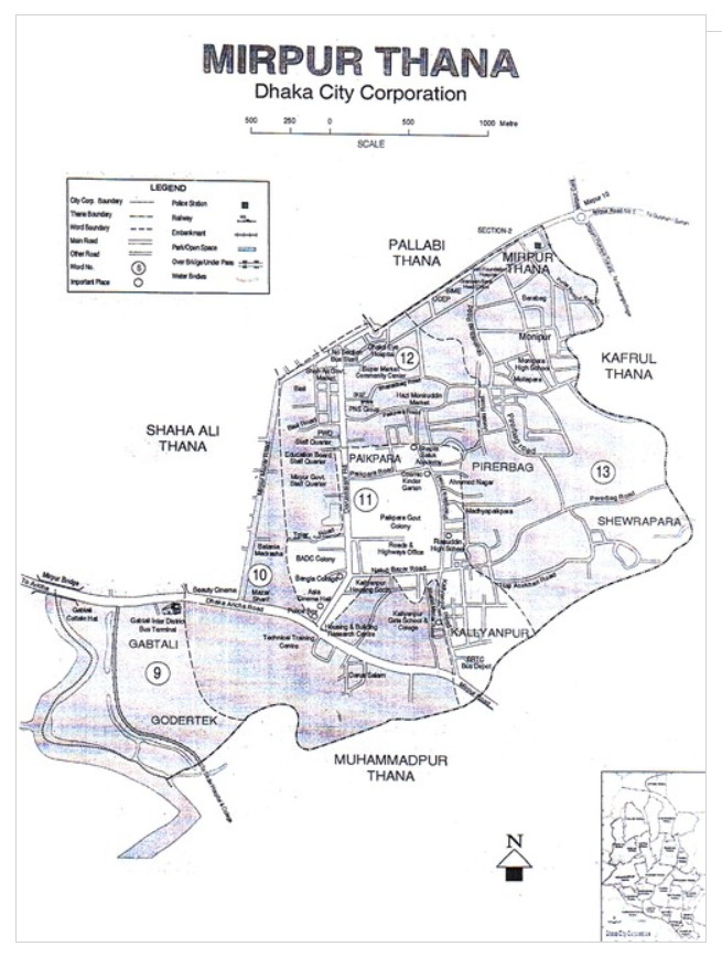Mirpur Thana Map