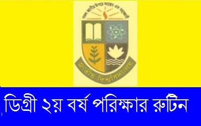 NU Degree 2nd Year Exam Routine - www.nu.edu.bd