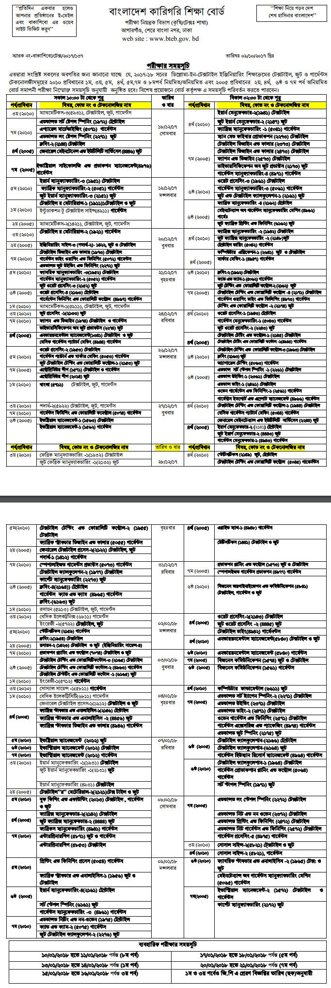 diploma in textile engineering exam routine bteb gov  diploma in textile engineering exam routine 2017 18 bteb gov