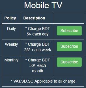 Teletalk Mobile TV | Subscription Charge 5TK/Day | 25TK/Week | 50TK/Month