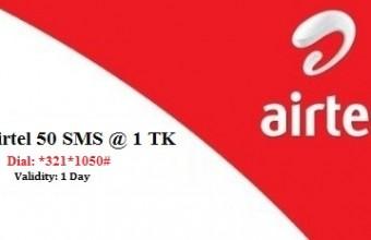 Airtel 50 SMS 1 TK Offer