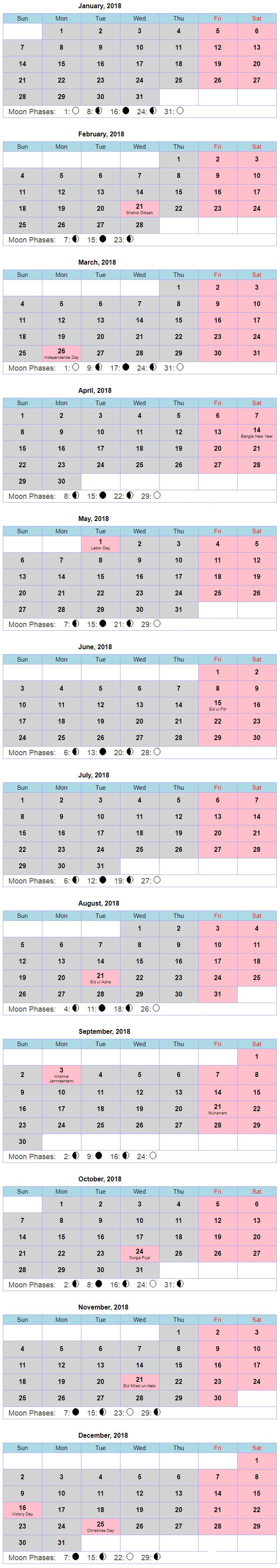 Bangladesh Government Calendar 2018 Public & National Holiday