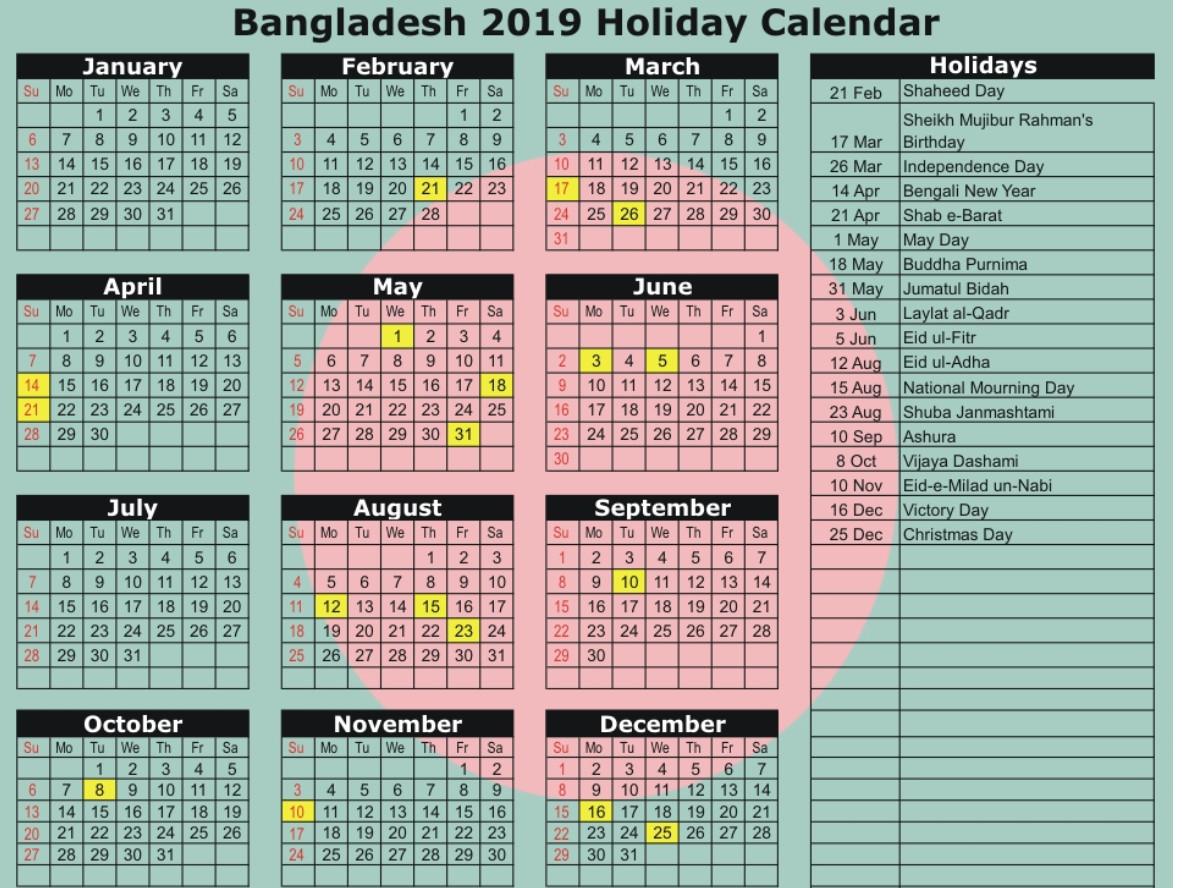 Bangladesh Government Holiday Calendar 2019 PDF (english Version)