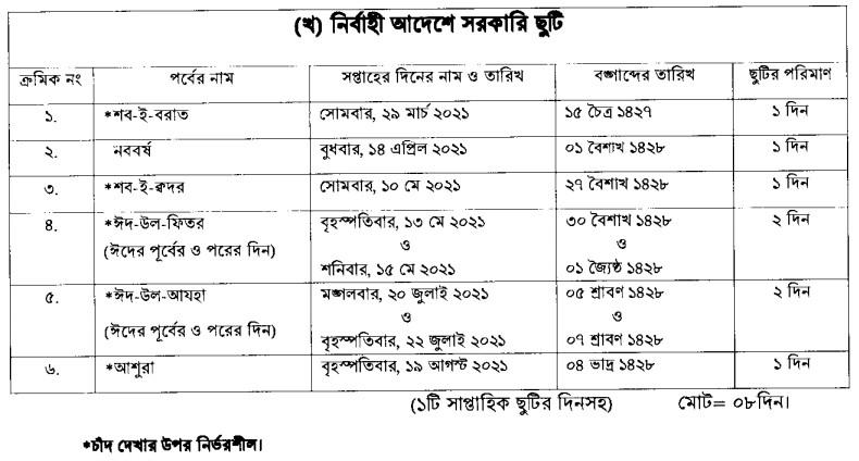 Bangladesh Vacation Holiday 2021 by Executive Order