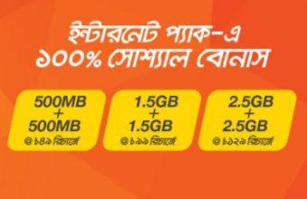 Banglalink 100% Social Internet Bonus Offer