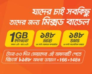 Banglalink 148 TK Mixed Bundle Offer – (1GB Internet + 148 Minutes + 148 SMS)