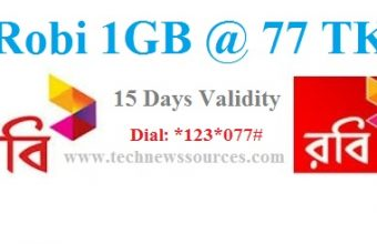 Robi 1GB 77 TK Internet Offer (15 Days Validity)