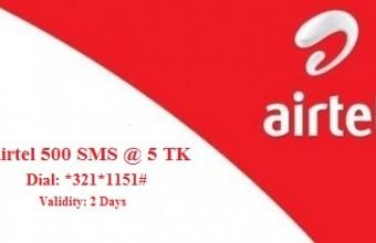 Airtel 500 SMS 5 TK Offer