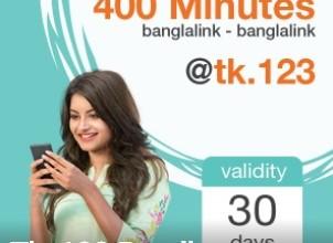 Banglalink 400 Minutes 123 TK Offer (30 Days Validity)
