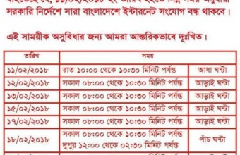 Internet services temporarily suspended in the Bangladesh – BTRC